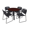 "Kee 42"" Round Breakroom Table- Mahogany/ Black & 4 Zeng Stack Chairs- Black"