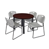 "Kee 42"" Round Breakroom Table- Mahogany/ Black & 4 Zeng Stack Chairs- Grey"