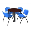 "Kee 42"" Round Breakroom Table- Mahogany/ Black & 4 'M' Stack Chairs- Blue"