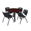"Kee 42"" Round Breakroom Table- Mahogany/ Black & 4 'M' Stack Chairs- Black"