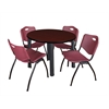 "Kee 42"" Round Breakroom Table- Mahogany/ Black & 4 'M' Stack Chairs- Burgundy"