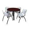 "Kee 42"" Round Breakroom Table- Mahogany/ Black & 4 'M' Stack Chairs- Grey"