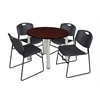 "Kee 42"" Round Breakroom Table- Mahogany/ Chrome & 4 Zeng Stack Chairs- Black"