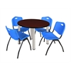 "Kee 42"" Round Breakroom Table- Mahogany/ Chrome & 4 'M' Stack Chairs- Blue"
