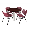 "Kee 42"" Round Breakroom Table- Mahogany/ Chrome & 4 'M' Stack Chairs- Burgundy"