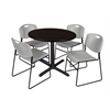"Cain 42"" Round Breakroom Table- Mocha Walnut & 4 Zeng Stack Chairs- Grey"