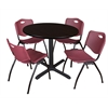 "Cain 42"" Round Breakroom Table- Mocha Walnut & 4 'M' Stack Chairs- Burgundy"