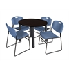 "Kee 42"" Round Breakroom Table- Mocha Walnut/ Black & 4 Zeng Stack Chairs- Blue"