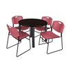 "Kee 42"" Round Breakroom Table- Mocha Walnut/ Black & 4 Zeng Stack Chairs- Burgundy"