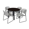 "Kee 42"" Round Breakroom Table- Mocha Walnut/ Black & 4 Zeng Stack Chairs- Grey"