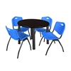 "Kee 42"" Round Breakroom Table- Mocha Walnut/ Black & 4 'M' Stack Chairs- Blue"
