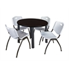 "Kee 42"" Round Breakroom Table- Mocha Walnut/ Black & 4 'M' Stack Chairs- Grey"