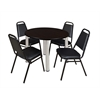 "Kee 42"" Round Breakroom Table- Mocha Walnut/ Chrome & 4 Restaurant Stack Chairs- Black"