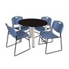 "Kee 42"" Round Breakroom Table- Mocha Walnut/ Chrome & 4 Zeng Stack Chairs- Blue"