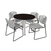 "Kee 42"" Round Breakroom Table- Mocha Walnut/ Chrome & 4 Zeng Stack Chairs- Grey"