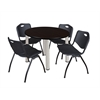 "Kee 42"" Round Breakroom Table- Mocha Walnut/ Chrome & 4 'M' Stack Chairs- Black"