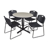 "Cain 42"" Round Breakroom Table- Maple & 4 Zeng Stack Chairs- Black"