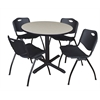 "Cain 42"" Round Breakroom Table- Maple & 4 'M' Stack Chairs- Black"