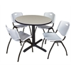 "Cain 42"" Round Breakroom Table- Maple & 4 'M' Stack Chairs- Grey"