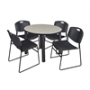 "Kee 42"" Round Breakroom Table- Maple/ Black & 4 Zeng Stack Chairs- Black"