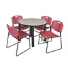 "Kee 42"" Round Breakroom Table- Maple/ Black & 4 Zeng Stack Chairs- Burgundy"