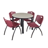 "Kee 42"" Round Breakroom Table- Maple/ Black & 4 'M' Stack Chairs- Burgundy"