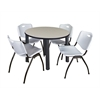 "Kee 42"" Round Breakroom Table- Maple/ Black & 4 'M' Stack Chairs- Grey"