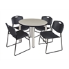 "Kee 42"" Round Breakroom Table- Maple/ Chrome & 4 Zeng Stack Chairs- Black"