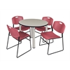 "Kee 42"" Round Breakroom Table- Maple/ Chrome & 4 Zeng Stack Chairs- Burgundy"