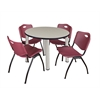 "Kee 42"" Round Breakroom Table- Maple/ Chrome & 4 'M' Stack Chairs- Burgundy"