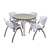 "Kee 42"" Round Breakroom Table- Maple/ Chrome & 4 'M' Stack Chairs- Grey"