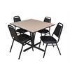 "Cain 48"" Square Breakroom Table- Beige & 4 Restaurant Stack Chairs- Black"
