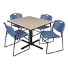 "Cain 48"" Square Breakroom Table- Beige & 4 Zeng Stack Chairs- Blue"