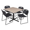 "Cain 48"" Square Breakroom Table- Beige & 4 Zeng Stack Chairs- Black"