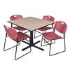 "Cain 48"" Square Breakroom Table- Beige & 4 Zeng Stack Chairs- Burgundy"