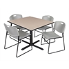 "Cain 48"" Square Breakroom Table- Beige & 4 Zeng Stack Chairs- Grey"