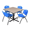 "Cain 48"" Square Breakroom Table- Beige & 4 'M' Stack Chairs- Blue"