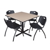 "Cain 48"" Square Breakroom Table- Beige & 4 'M' Stack Chairs- Black"