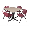 "Cain 48"" Square Breakroom Table- Beige & 4 'M' Stack Chairs- Burgundy"
