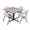 "Cain 48"" Square Breakroom Table- Beige & 4 'M' Stack Chairs- Grey"