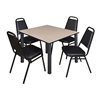 "Kee 48"" Square Breakroom Table- Beige/ Black & 4 Restaurant Stack Chairs- Black"