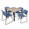 "Kee 48"" Square Breakroom Table- Beige/ Black & 4 Zeng Stack Chairs- Blue"