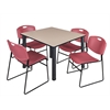 "Kee 48"" Square Breakroom Table- Beige/ Black & 4 Zeng Stack Chairs- Burgundy"