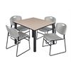 "Kee 48"" Square Breakroom Table- Beige/ Black & 4 Zeng Stack Chairs- Grey"