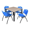 "Kee 48"" Square Breakroom Table- Beige/ Black & 4 'M' Stack Chairs- Blue"