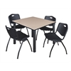 "Kee 48"" Square Breakroom Table- Beige/ Black & 4 'M' Stack Chairs- Black"
