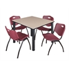 "Kee 48"" Square Breakroom Table- Beige/ Black & 4 'M' Stack Chairs- Burgundy"