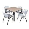 "Kee 48"" Square Breakroom Table- Beige/ Black & 4 'M' Stack Chairs- Grey"