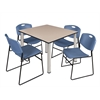 "Kee 48"" Square Breakroom Table- Beige/ Chrome & 4 Zeng Stack Chairs- Blue"