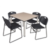 "Kee 48"" Square Breakroom Table- Beige/ Chrome & 4 Zeng Stack Chairs- Black"